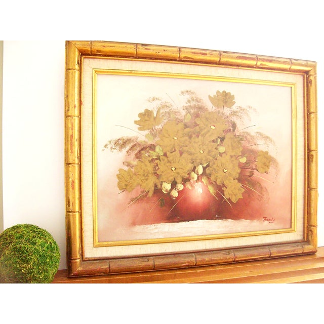 Original Floral Painting with Gold Bamboo Frame - Image 4 of 7
