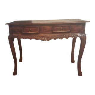 Balinese Cherrywood Side Table With Hand Carved Apron and Claw Legs