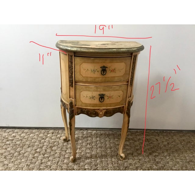 French Style Night Stand With Hand Painted Flowers For Sale - Image 10 of 11