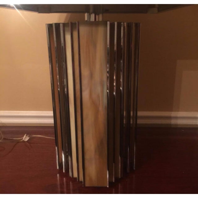 Chrome and Colored Glass Modern Table Lamp - Image 5 of 5