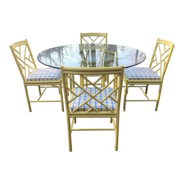 1970s Chippendale Meadowcraft Faux Bamboo Dining Set - 5 Piece Set For Sale