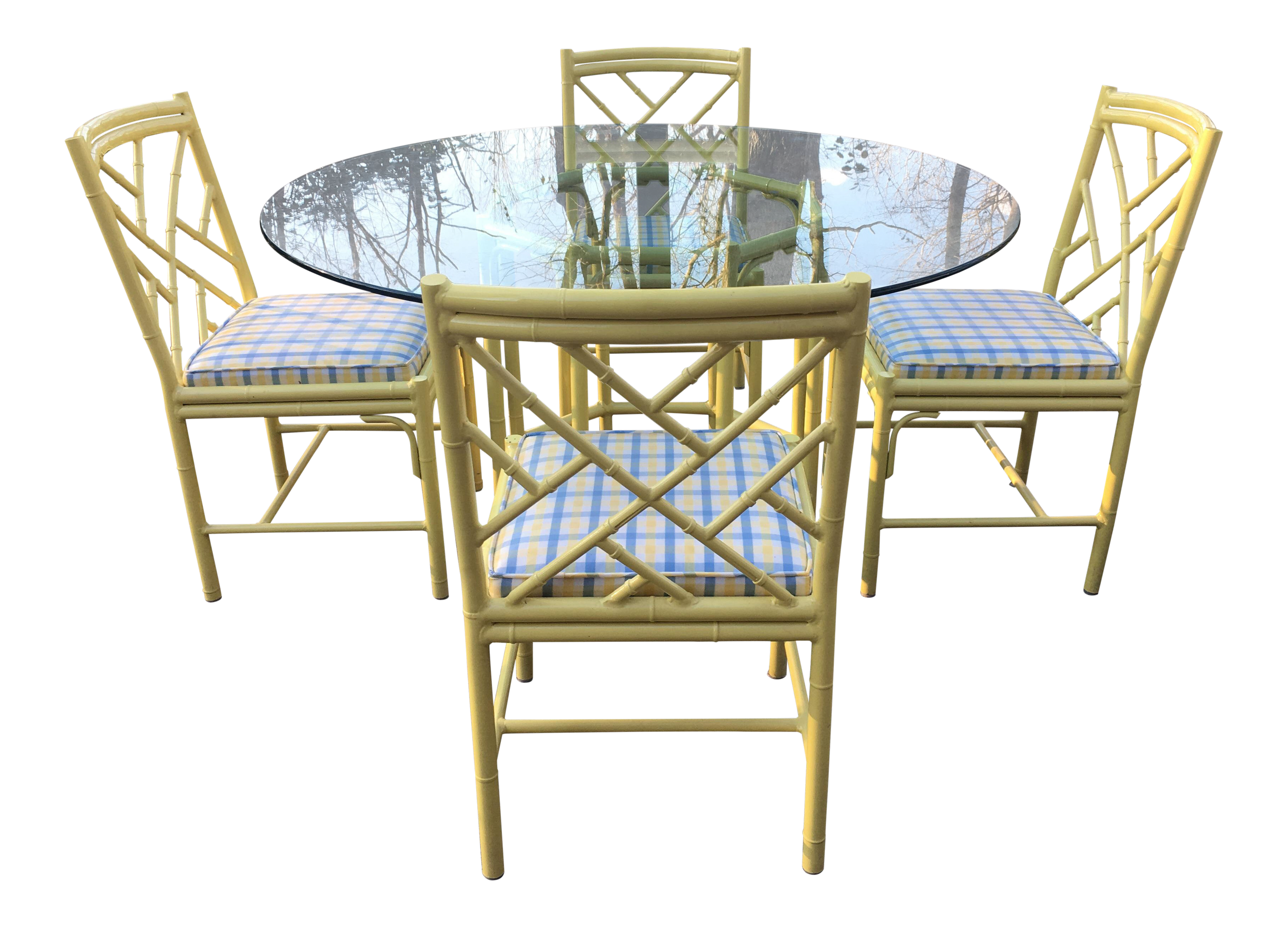 1970s Chippendale Meadowcraft Faux Bamboo Dining Set   5 Piece Set For Sale