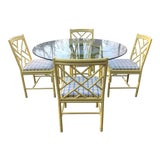 Image of 1970s Chippendale Meadowcraft Style Faux Bamboo Dining Set - 5 Piece Set For Sale