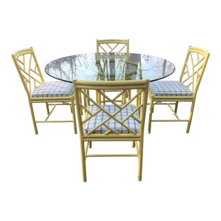 1970s Chippendale Meadowcraft Style Faux Bamboo Dining Set - 5 Piece Set For Sale
