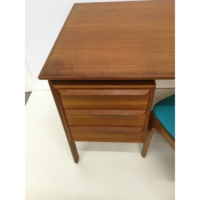 Danish Modern Danish Teak Double Pedestal Desk with Matching Chair For Sale - Image 3 of 10