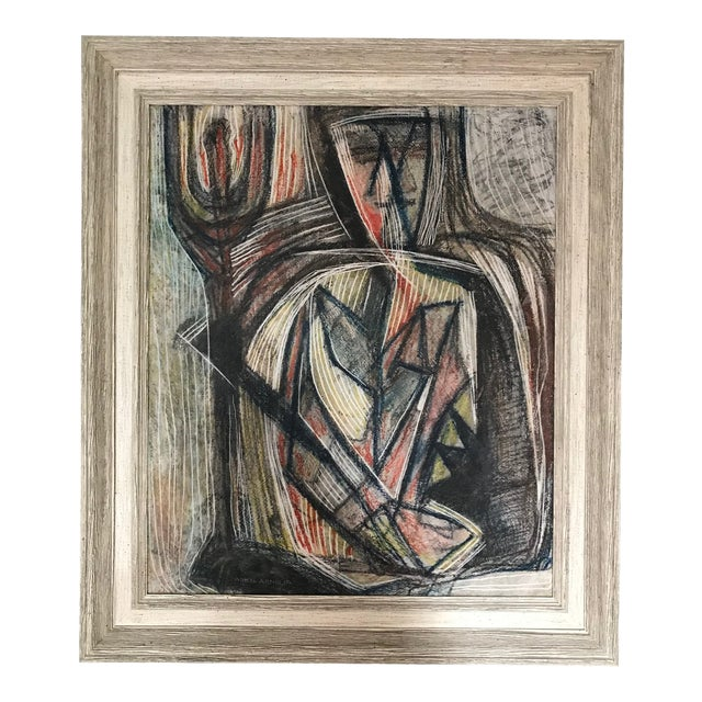 1950s Cubist Abstract Male Portrait Painting For Sale
