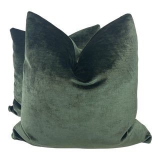 """Lee Jofa """"King's Velvet"""" in Emerald 22"""" Pillows-A Pair For Sale"""
