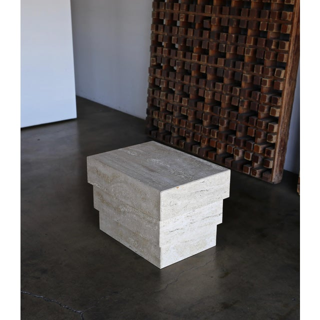 Contemporary Sculptural Modernist Travertine Side Table, Circa 1980 For Sale - Image 3 of 13