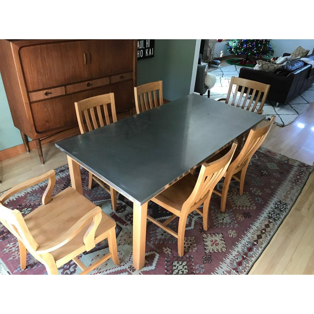 Pottery Barn Stainless Steel Dining Room Set Chairish