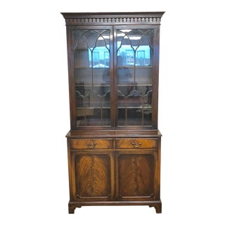 Georgian Stepback Chippendale Bookcase Cabinet For Sale