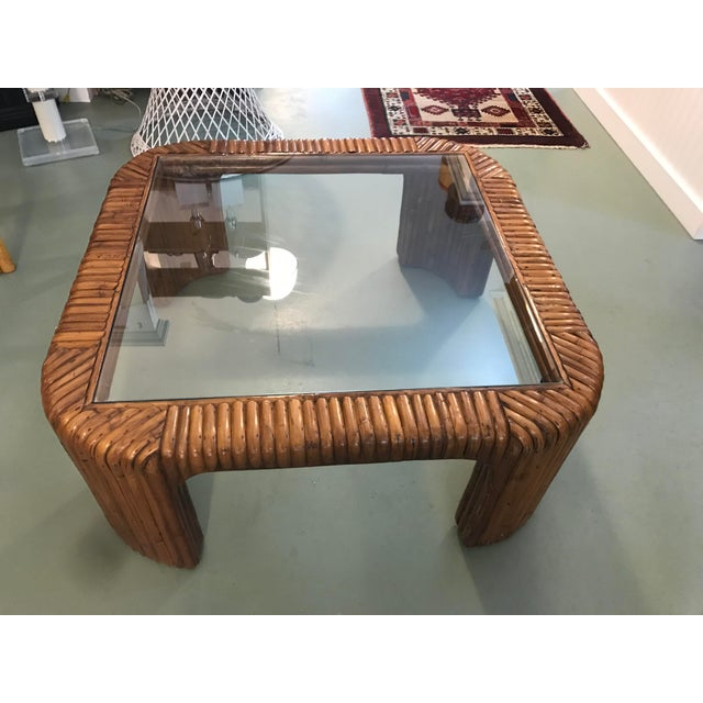 Gabriella Crespi Split Reed Rattan Waterfall Coffee Table For Sale - Image 4 of 8