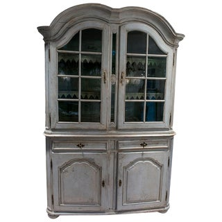Painted Buffet Du Corps Two-Piece Cupboard With Glass Doors. For Sale