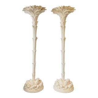 Monumental Plaster Palm Lamps by Sirmos After Serge Roche- a Pair For Sale