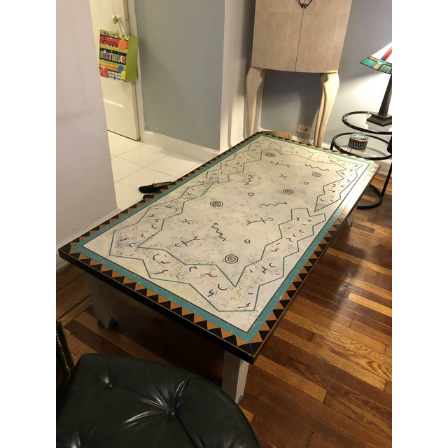 1990s Richard Kooyman Wood Carved Hieroglyphic Multicolored Coffee Table For Sale - Image 5 of 9