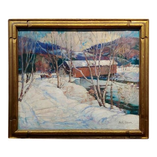 James King Bonnar 1920s Winter Landscape in Vermont - Oil Painting For Sale