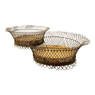 Vintage French Wire Planters - a Pair For Sale