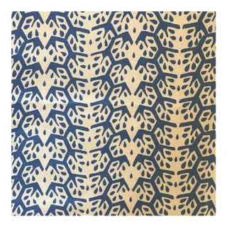 Sister Parish Cecil Stripe Blue and Off White Linen Fabric For Sale