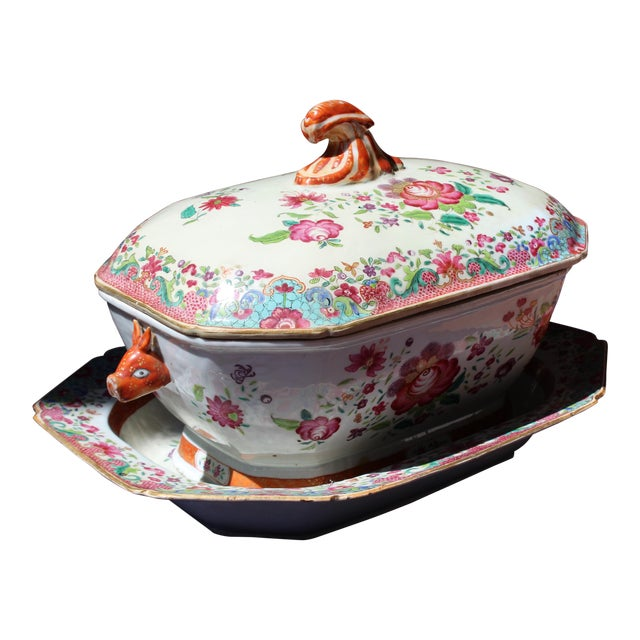 19th C. Chinese Export Tureen For Sale