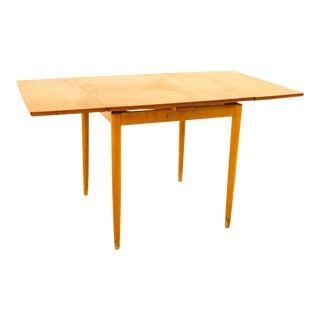Mid Century Small Teak Hidden Leaf Dining Table For Sale