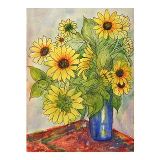 Modernist Sunflower Still Life 2 Sided Watercolor Painting For Sale