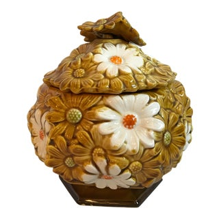 Vintage Gold and White Daisy Ceramic Candy Jar For Sale