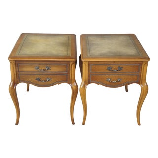 French Provincial Tooled Leather Ash Wood Nightstands - a Pair For Sale