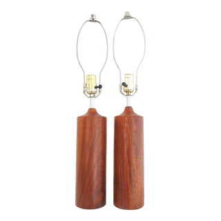 1960s Minimal Walnut Base Lamps - a Pair