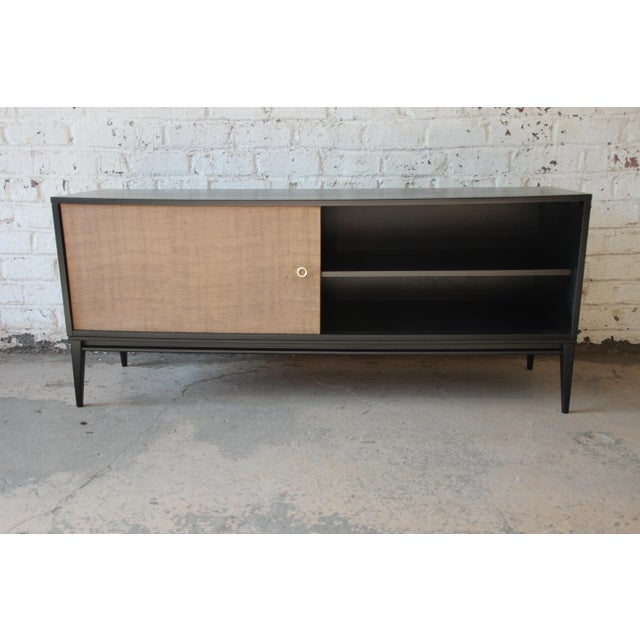 Black Paul McCobb Planner Group Mid-Century Modern Ebonized Low Credenza For Sale - Image 8 of 11