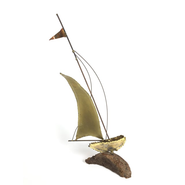 Curtis Jere Curtis Jere Style Brass Boat Sculpture For Sale - Image 4 of 4