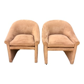 Pair of J Robert Scott Modern Designer Club Chairs by Sally Sirkin Lewis