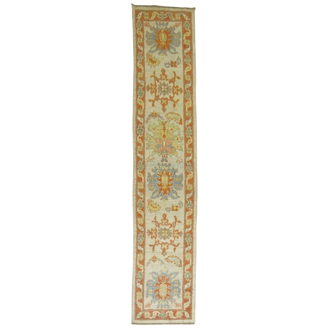 Vintage Turkish Oushak Runner - 2'9'' X 13'5'' - Image 1 of 6