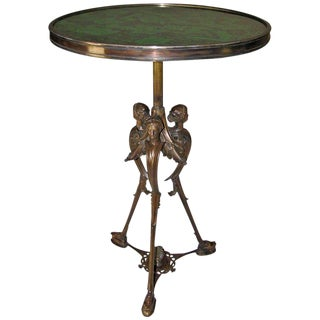 19th Century French Bronze Malachite Side Table For Sale