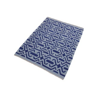 Contemporary Kilim Sager Blue Hand-Woven Wool Rug- 4′4″ × 5′9″ Preview