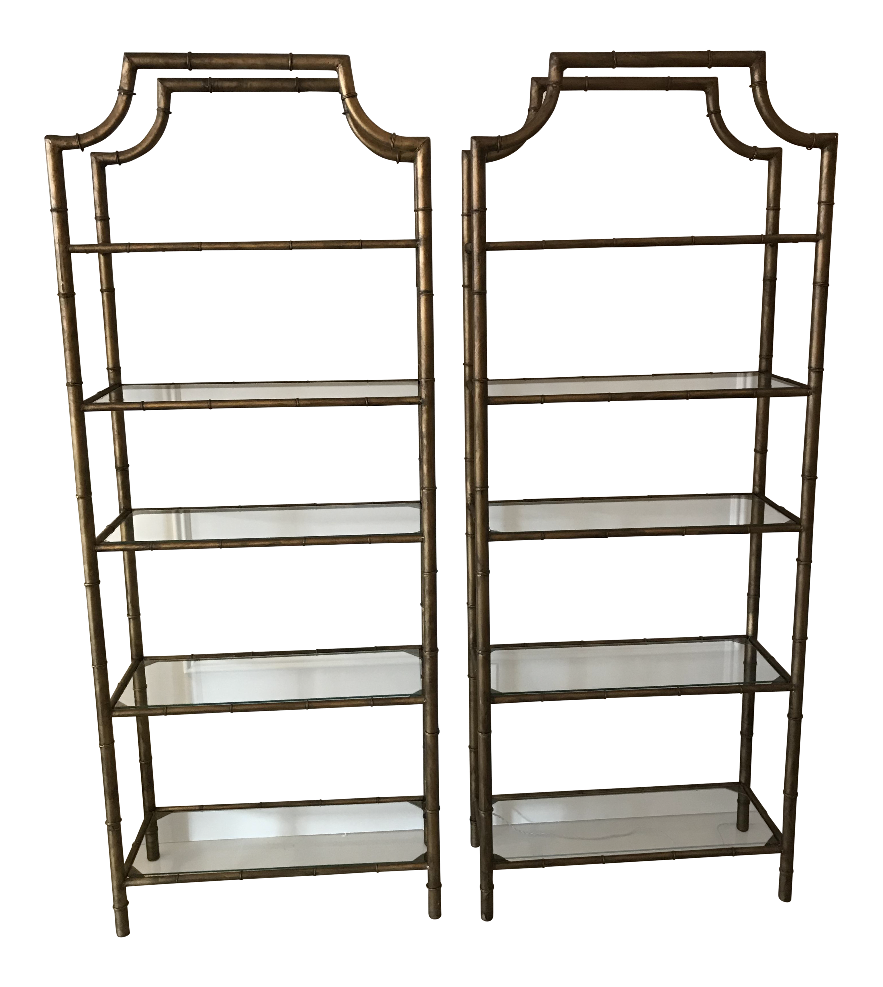 Gilt Faux Bamboo Etageres   A Pair   Image 1 Of 6