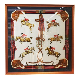 "Hermes Equestrian ""Jumping"" Scarf Framed"