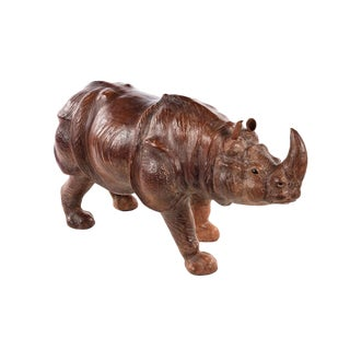 Vintage Leather Rhinoceros Sculpture For Sale