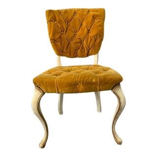 1970s Velvet Gold Tufted Chair For Sale