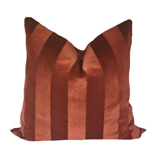 Art Deco Cinnabar Striped Mohair Velvet Pillows - a Pair For Sale - Image 3 of 3