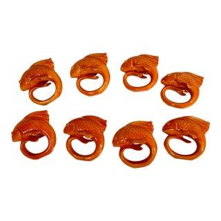 20th Century Asian Orange Ceramic Koi Fish Shaped Napkin Rings- Set of 8 For Sale
