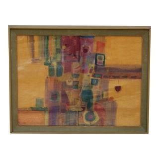 Mid Century Modern Framed Watercolor For Sale