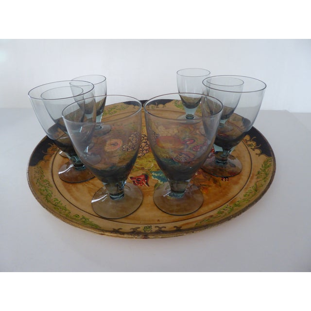 Hand Painted Tray & Crystal Liqueur Glasses-Set of 9 For Sale - Image 5 of 8