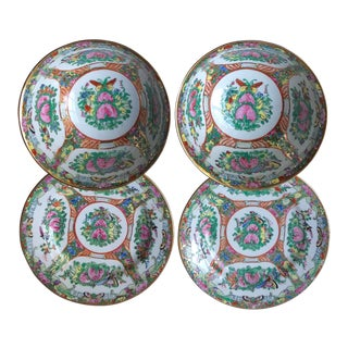 1980s Vintage Chinese Export Butterfly Garden Bowls & Plates - Set of 4 For Sale