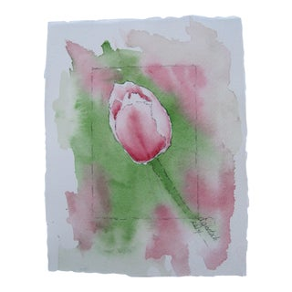 Watercolor Painting of Pink Tulip