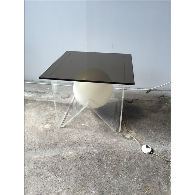 Vintage Lucite and Smoky Glass Lighted Table For Sale - Image 5 of 6