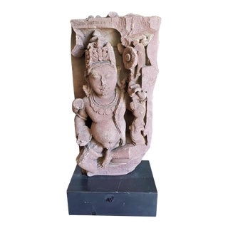 11th C. Asian Antique Red Sandstone Pot Bellied Vishnu Carving For Sale
