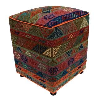 Boho Chic Haight Orange/Green Handmade Soumakh Upholstered Ottoman For Sale