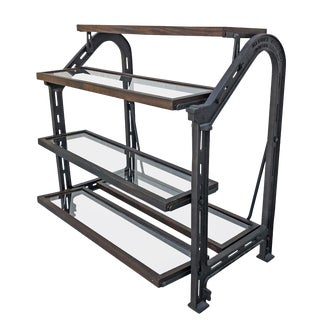 Custom AllSaints Spitalfields Walnut Iron and Glass Adjustable Shelving Display For Sale