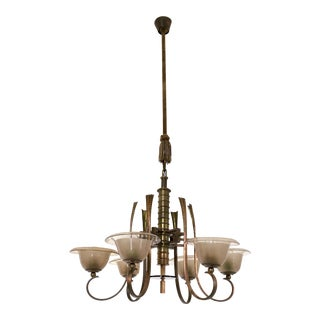 Blown Glass Chandelier Ascribable to Paolo Buffa, 1930s
