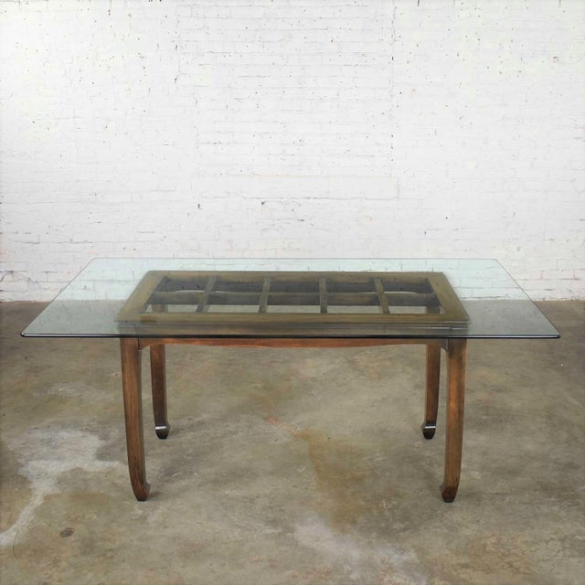Vintage Chinoiserie Chow Leg Glass Top Dining Table Walnut Color Finish For Sale - Image 13 of 13