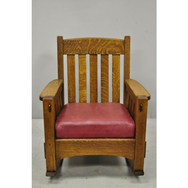 Early 20th Century Harden Mission Oak Arts & Crafts Stickley Style Rocking Chair Rocker Armchair For Sale - Image 12 of 13